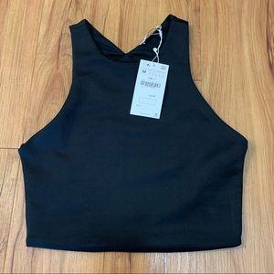 Zara Black V-neck Short Sleeved Crop Top